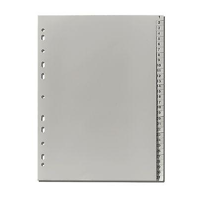 10 x Falken Plastik-Register 1-31 PP-Folie DIN A4 volle Höhe , Zahlenregister
