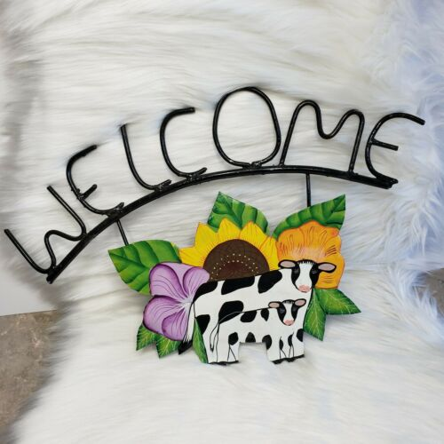 Cow Metal Welded Welcome Sign Hand Painted With Flowers Sunflower