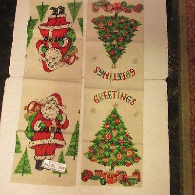 Christmas Towels Parisian Prints Pair Tree Santa Clause Cloth Linen Vtg NWT NWOT