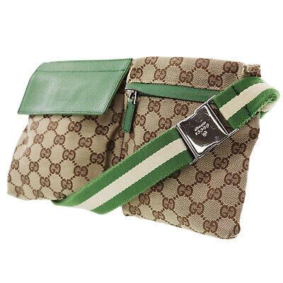 GUCCI Original GG Canvas Web Stripe Fanny Pack Brown Green Authentic #JJ31 Y