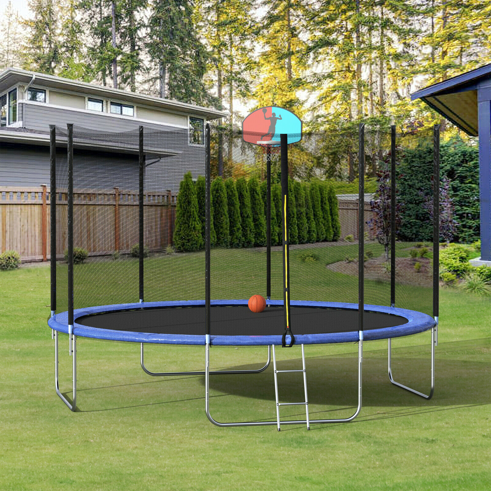 12 trampoline with basketball hoop and enclosure