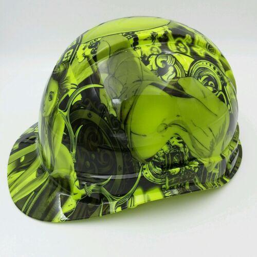Hard Hat custom hydro dipped , OSHA approved BAD BONES CLUB LIME GREEN 1