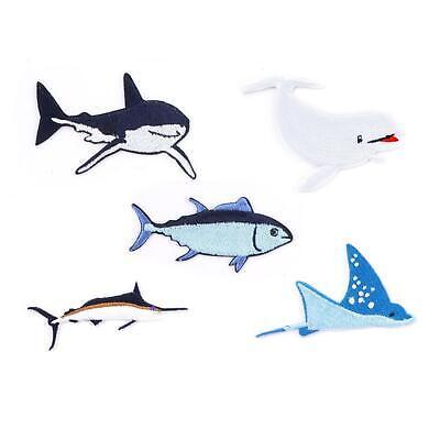 Kikkerland Set Of 5 Iron-on Sea Creature Patches Small & Large Sizes Any Fabric