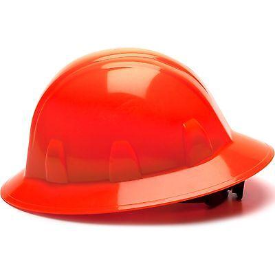 Pyramex Full Brim Hard Hat With 4 Point Ratchet Suspension Hi-vis Orange