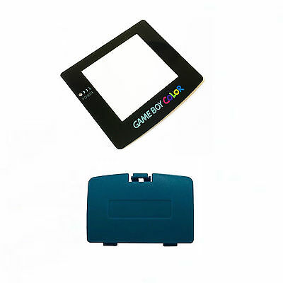 (New TEAL Game Boy Color Battery Cover + New GLASS Screen Lens GBC)
