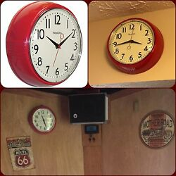 Retro Red Kitchen Wall Clock Decor 1950's Era Design Battery Operated Room New
