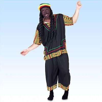 Rasta Man Gr. 50-54 inkl Perücke mit Dreadlocks Jamaika Karneval Kostüm (Jamaika Karneval Kostüm)