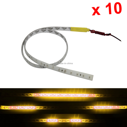 10x Yellow Flexible Strip Light 60CM 2FT Knight Rider Flash