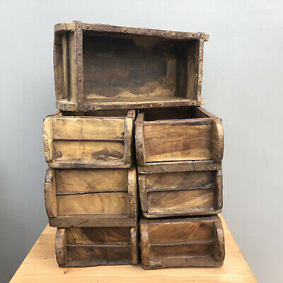 Vintage Authentic Indian Wooden Brick Mould Display Shelf Storage Crate Planter