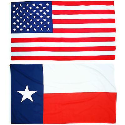 Fahnen Set Texas und USA Querformat 90 x 150 cm U.S.A Hissflagge Bundesstaat USA