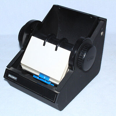 Vintage Rolodex Rotary Black Metal Card File Round Usa Industrial Heavy W Cards