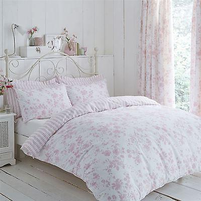 Bettwäsche Vorhänge (Blumen Schleierstoff Streifen Rosa Weiß Einzel Bettwäsche & Plissee-Vorhänge)