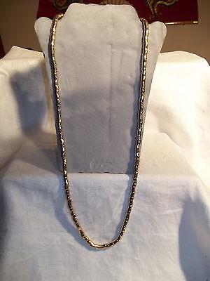 Goldtone Flex Strand Necklace Modern Art Snake Beads Chain 29 1/2