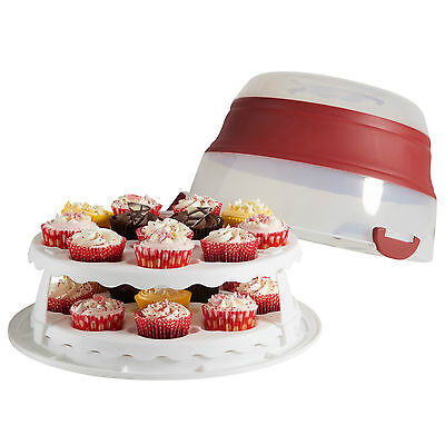 VonShef 2-in-1 Cake and Cupcake Storage Box Container with Adjustable Lid