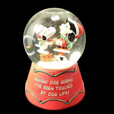 Peanuts Kurt S Adler Snoopy Kiss Lucy Musical Christmas Animated Snowglobe Video