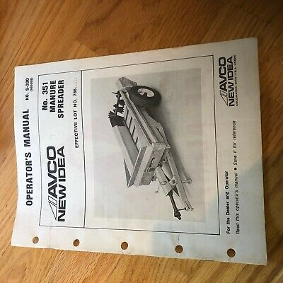New Idea Manure Spreader 351 Operator Maintenance Manual
