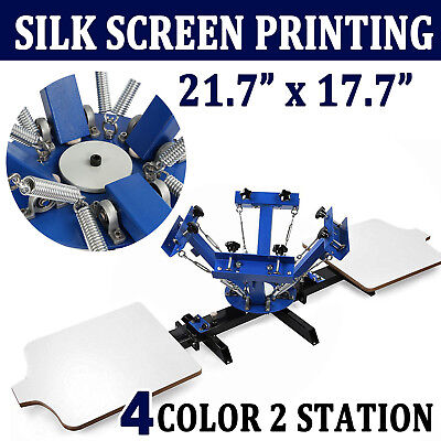 4 Color 2 Station Silk Screen Printing Machine Press Equipment T-shirt Diy