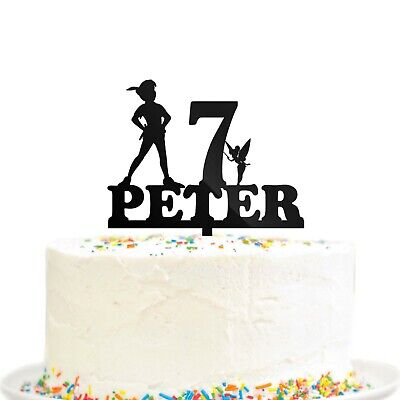Peter Pan Birthday Party Cake Topper Never Grow Up Custom Name Age Tinkerbell (Peter Pan Party)