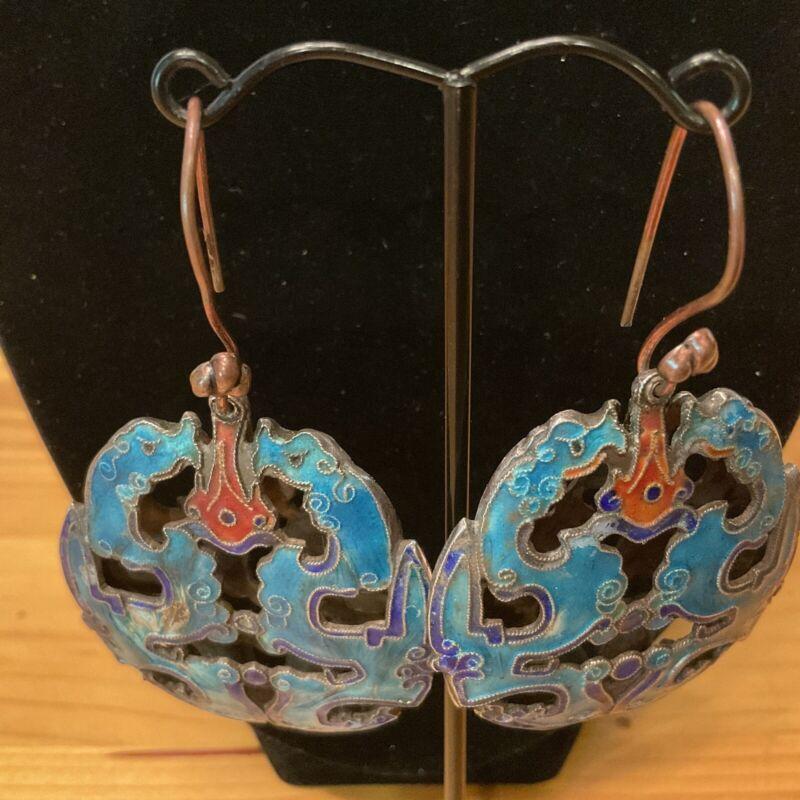 STUNNING VINTAGE Chinese export enamel earrings