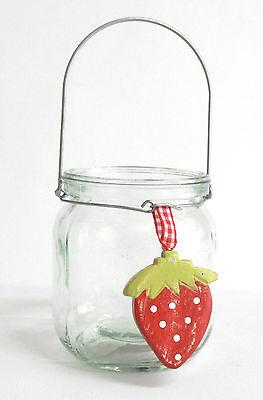 Glas 1 Licht Hängen (1 Glas zum Hängen Trendglas Erdbeere Windlicht )