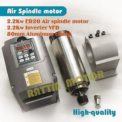 High Speed 2.2kw Air Cooled Spindle Motor Er202.2kw Vfd Inverter80mm Clamp Cnc