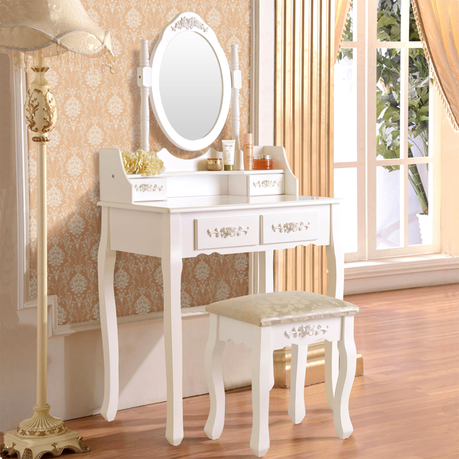 White Vanity Makeup Dressing Table Set with Stool 4 Drawer & Mirror Wood Desk 709202324753 | eBay