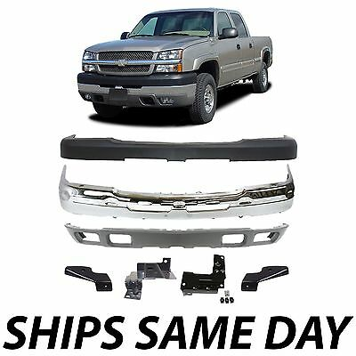 NEW - Chrome Steel Front Bumper Kit For 2003-2007 Chevy Silverado 2500HD 3500