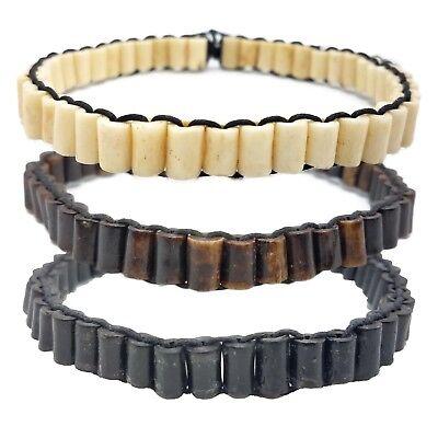 Bone Choker Necklace Native American Style Jewelry Carved Buffalo Bone Bead Slim