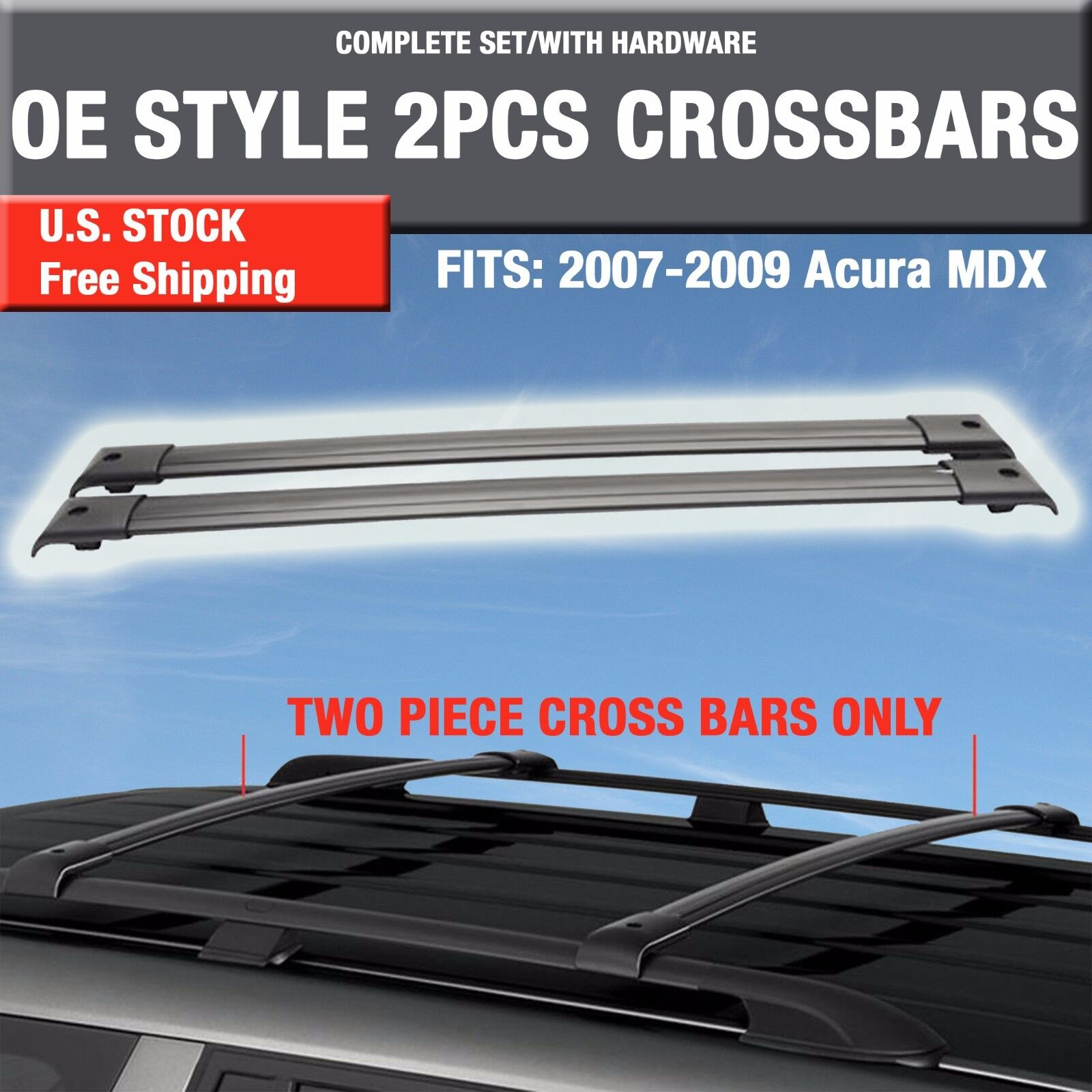 2007-09 Acura MDX Side Roof Rails OE Factory Style -2PCS