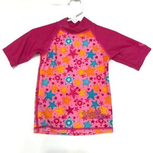 UV Skinz STARS Rash Guard Top Baby Toddler 12 18 Mos Dark Pink Mock Short Sleeve