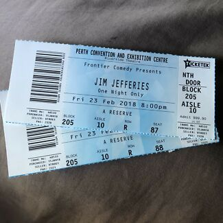 2 Jim Jefferies Tickets - Perth's sold out show - Tomorrow night!