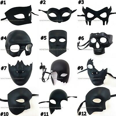 Blank Matte Black Masquerade Ball Phantom Super Hero Batman Half face Eye Mask (Black Blank Mask)