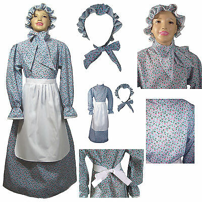 Kids Prairie Dress Set Calico Laura Ingalls Wilder Girls Pioneer Dress 1223 ()