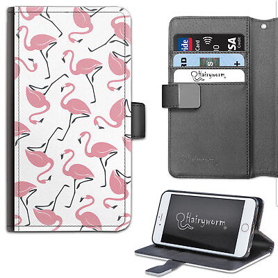 HAIRYWORM PINK FLAMINGO PATTERN DELUXE LEATHER WALLET PHONE CASE, FLIP (Pink Deluxe Leather Case)