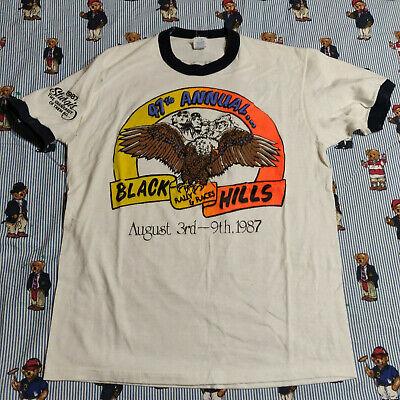 VTG 80s Sturgis Rally Motorcycle Ringer Graphic T Shirt MEDIUM 1987 2-sided -