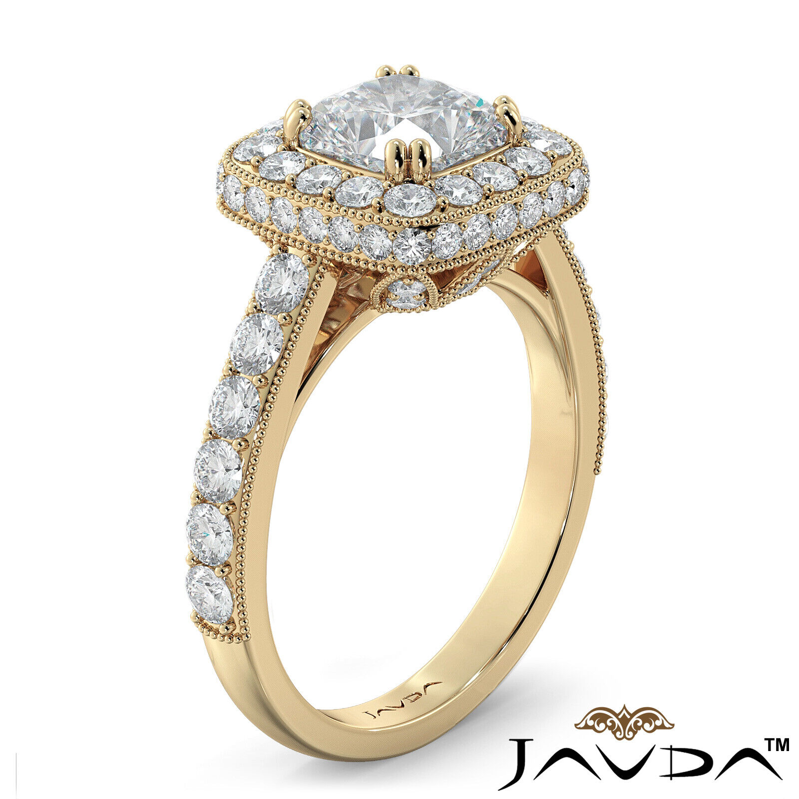 2ctw Milgrain Halo Floral Basket Cushion Diamond Engagement Ring GIA H-VS2 Gold 8