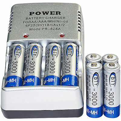 8x AA 2A 3000mAh 1.2 V Ni-MH BTY Rechargeable Battery Cell+ AA Battery Charger