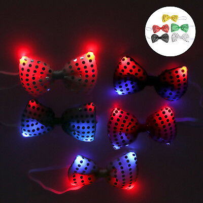 Flashing Light Up LED Bow Tie Necktie Party Sequins Wedding Party Fun Xmas Gifts - Led Bowtie