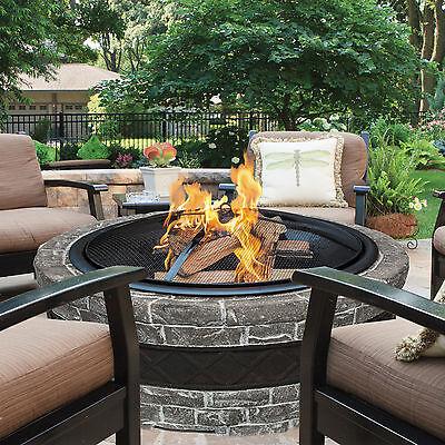 Outdoor Fire Pit Wood Burning Stone Fireplace Bowl Backyard Deck Patio Heater