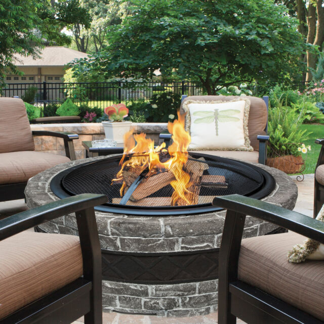 Stone Fire Pit Outdoor Backyard Patio Fireplace Heater Wood – Patio Fireplace