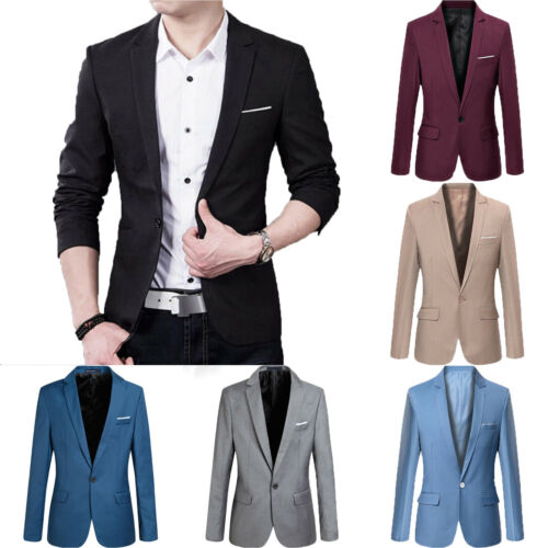 Men's Casual Slim Fit One Button Suit Blazer Business Work C