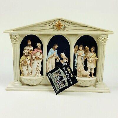 Nativity Led Light - Ganz LED Light Up Triple Arch Nativity Display Piece