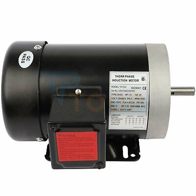 Air Compressor Electric Motor Three Phase 1.5 Hp 2 Pole 3450 Rpm 56c Frame Tefc