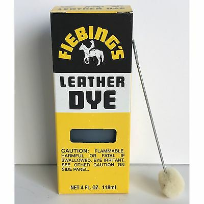 Fiebings BLACK Leather Dye 4 oz. with Applicator for Shoes Boots Bags NEW