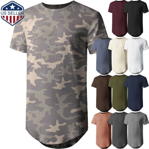 Mens BASIC HIPSTER T Shirts Casual Extended Longline Back Hip Hop Tee Big Size