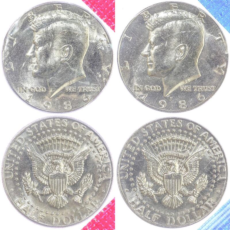 1986 P D Kennedy Half Dollars Bu Us Mint Cello 2 Coin Set