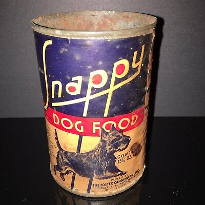 BEST IN SHOW! Snappy 1930s Dog Food Tin Can Schnauzer Paper Label Old Pet Shop