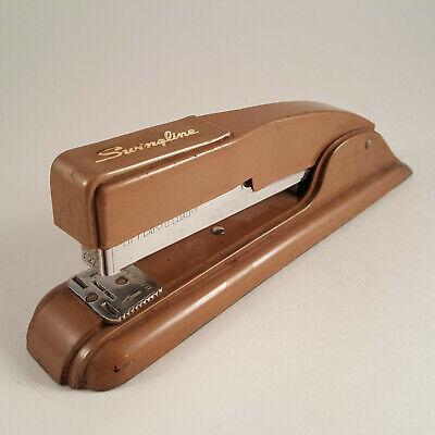 Vtg Bronze Brown Swingline 27 Heavy Duty Desktop Metal Stapler Art Deco Ny Usa
