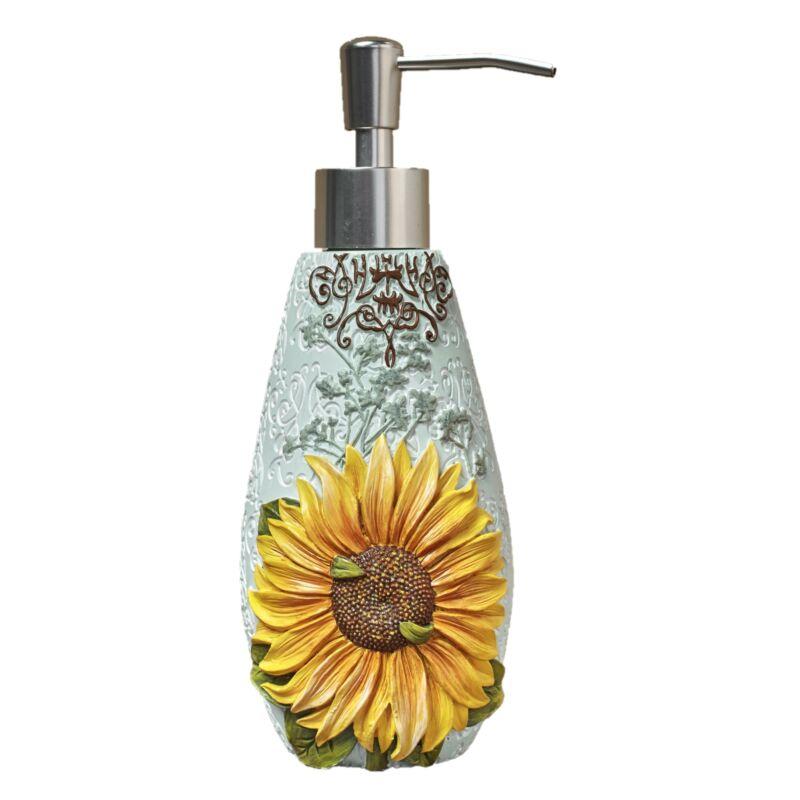 Sunflower Soap or Lotion Pump Dispenser with Floral Farmhouse Motif