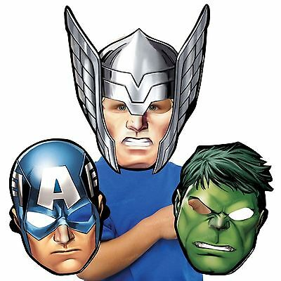 8x Avengers Thor Hulk Captain America Card Mask Birthday Party Favour Girls Boys (Captain America Girl Mask)